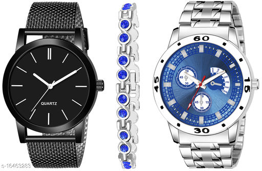 Khajana Present 3 Combo Watches With K184J001K56 Model Blue Colour Dial & Silver Colour Strap & Stainless steel Combo Analog Watches
