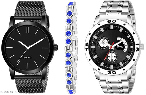 Khajana Present 3 Combo Watches With K184J001K54 Model Black Colour Dial & Silver Colour Strap & Stainless steel Combo Analog Watches