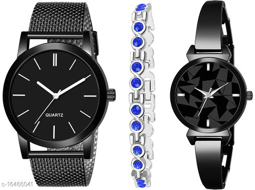 Khajana Present 3 Combo Watches With K184J001L722 Model Black Colour Dial & Black Colour Strap & Stainless steel Combo Analog Watches