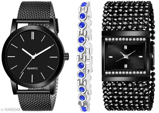 Khajana Present 3 Combo Watches With K184J001L617 Model Black Colour Dial & Black Colour Strap & Stainless steel Combo Analog Watches