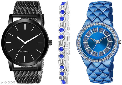 Khajana Present 3 Combo Watches With K184J001L738 Model Blue Colour Dial & Blue Colour Strap & Stainless steel Combo Analog Watches