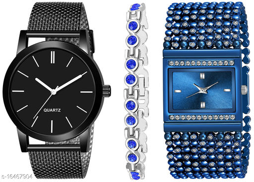 Khajana Present 3 Combo Watches With K184J001L614 Model Blue Colour Dial & Blue Colour Strap & Stainless steel Combo Analog Watches