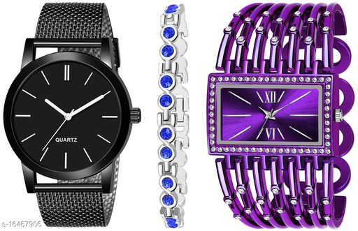Khajana Present 3 Combo Watches With K184J001L628 Model Purple Colour Dial & Purple Colour Strap & Stainless steel Combo Analog Watches