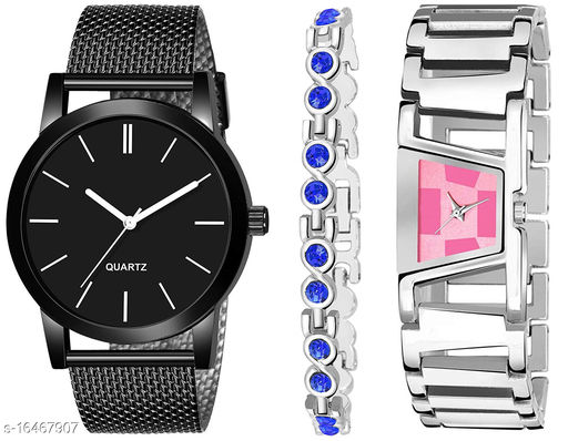 Khajana Present 3 Combo Watches With K184J001L735 Model Pink Colour Dial & Silver Colour Strap & Stainless steel Combo Analog Watches