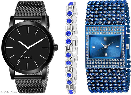 Khajana Present 3 Combo Watches With K184J001L611 Model Blue Colour Dial & Blue Colour Strap & Stainless steel Combo Analog Watches