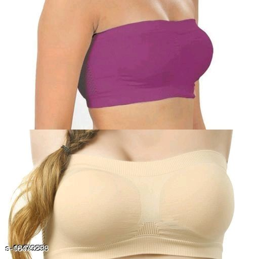Pack of 2 Non Padded Bandeau Bra(Color And Design Will Not Same As Photo Always All The Time)