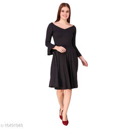 TEXCO Solids viscose Bell Sleeves Fit & flare  For Women