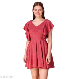TEXCO Solids cotton Short Sleeves Fit & flare  For Women