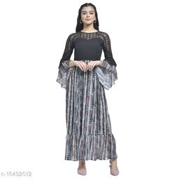 TEXCO printed Georgette Long Sleeves Maxi Dress For Women