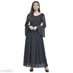 TEXCO Solids Georgette Long Sleeves Maxi  For Women