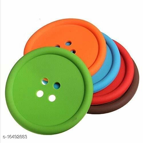 Silicone Button Shaped Placemat Heat Resistant Coaster Set for Tea Coffee Cup Mugs in Assorted Color set of 6