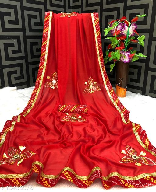 Vichitra Silk Patch Work Saree With Printed Blouse