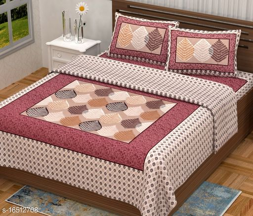 Gaurish Creations King Size Double Bedsheet || 180 TC 100% Pure Cotton Leaf Design Print Bedsheet with 2 Zipper Pillow Covers-(90 X 108 Inch, Pink Color)