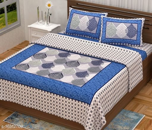 Gaurish Creations King Size Double Bedsheet || 180 TC 100% Pure Cotton Leaf Design Print Bedsheet with 2 Zipper Pillow Covers-(90 X 108 Inch,Sky Blue Color)
