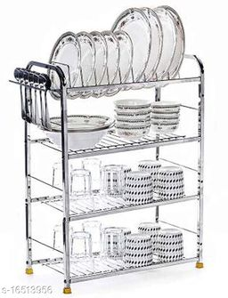 Pla Stainless Steel 4 Shelf Wall Mount Kitchen Utensils Rack | Dish Rack with Plate & Cutlery Stand | Modular Kitchen Storage Rack | Kitchen Organizer (24x24 inches)