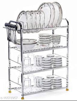 Pla Stainless Steel 4 Shelf Wall Mount Kitchen Utensils Rack | Dish Rack with Plate & Cutlery Stand | Modular Kitchen Storage Rack | Kitchen Organizer (31x24 inches)
