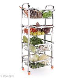 Pla Stainless Steel 4 Shelf Fruits and Vegetable Trolley with Wheels | Fruits Basket | Modular Kitchen Storage Basket | Kitchen Organizer (27-inch, Silver)