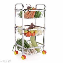 Pla Stainless Steel 3 Shelf Fruits and Vegetable Trolley with Wheels | Fruits Basket | Modular Kitchen Storage Basket | Kitchen Organizer (27-inch, Silver)