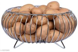 Pla Heavy Stainless Steel Vegetable and Fruit Bowl Basket - Nickel Chrome Plated