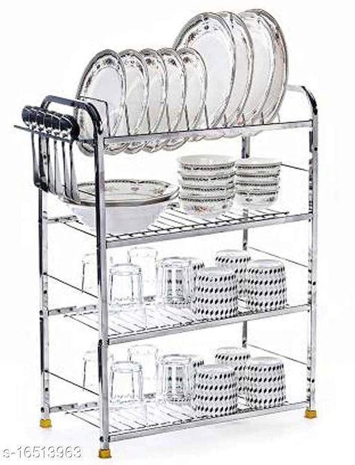 Pla Stainless Steel 4 Shelf Wall Mount Kitchen Utensils Rack | Dish Rack with Plate & Cutlery Stand | Modular Kitchen Storage Rack | Kitchen Organizer (24x18 inches)
