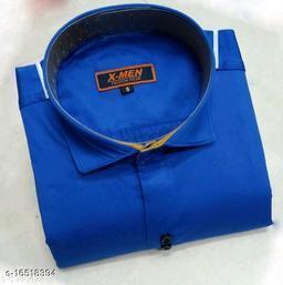 Mens Slim Fit Spread Collor Royal Blue Shirt