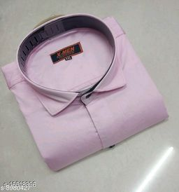 Mens Slim Fit Spread Collor Pink Color Shirt