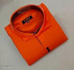 Mens Slim Fit Spread Collor Orange Color Shirt