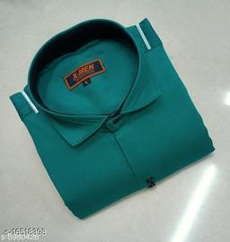 Mens Slim Fit Spread Collor Green Color Shirt