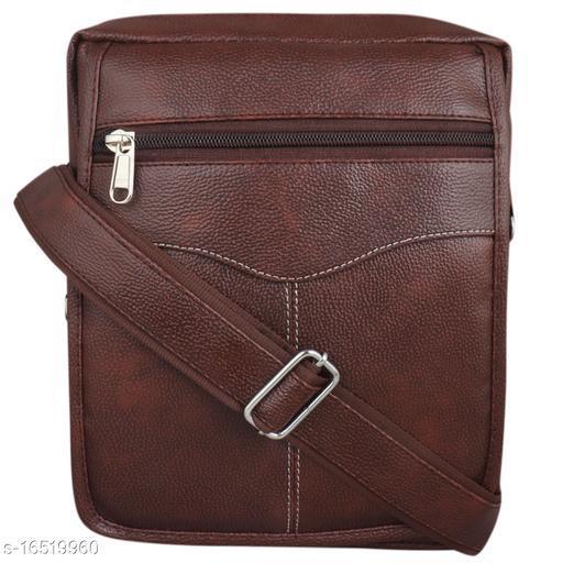 Trendy Men's Brown Faux Leather/Leatherette Slingbag