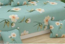Ozaz presents Supersoft diwan set in cotton fabric which contains 1 single bedsheet, 2 bolster, 5 cushion covers.