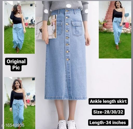 Front slit long denim skirt with strechable waist and buttons by High-Buy