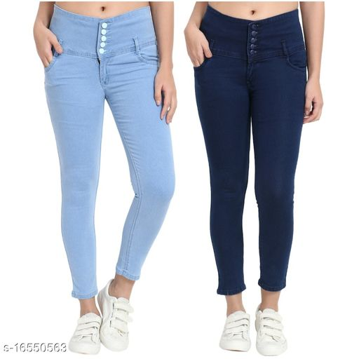 (Pack of 2) 5 Button, Womens, Silky Denim 5-pocket high-rise jeans, clean look, has a button and zip cloSURAe, and waistband with belt loops