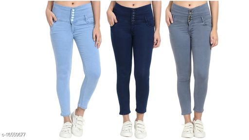 (Pack of 3) 5 Button, Womens, Silky Denim 5-pocket high-rise jeans, clean look, has a button and zip cloSURAe, and waistband with belt loops