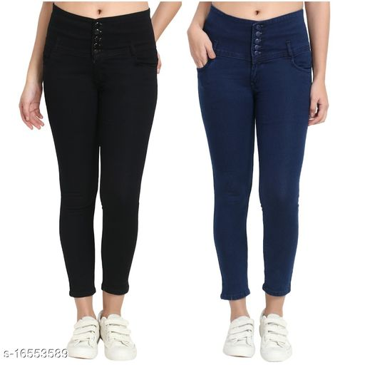 (Pack of 2) 5 Button, Women/Girls, Silky Denim 5-pocket high-rise jeans, Slim Fit, clean look, has a button and zip closure, and waistband with belt loops