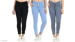 (Pack of 3) 5 Button, Women/Girls, Silky Denim 5-pocket high-rise jeans, Slim Fit, clean look, has a button and zip closure, and waistband with belt loops