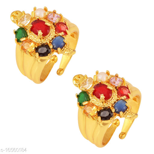Ln Choice Navratan Meru Adjustable Combo of 2 Tortoise Ring for Men and Women for Good Luck