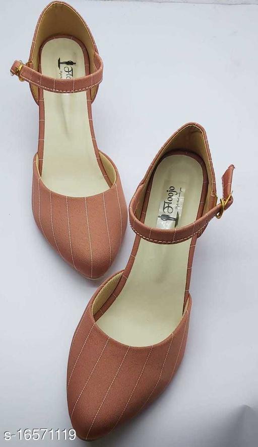 Attractive Women's Mesh Peach Heels
