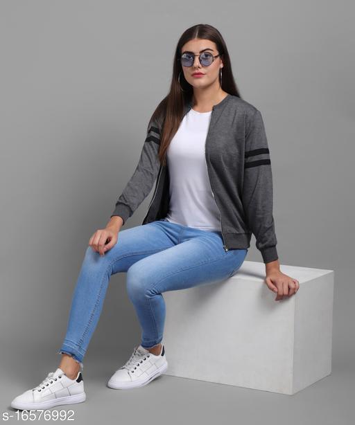 Elizy Women Grey Plain White Stripe Sleeve Chain Jacket