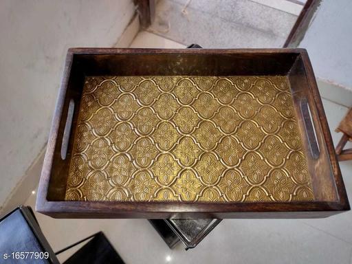 Mango Handmade Golden Brass Patra & Wooden Food Serving Tray