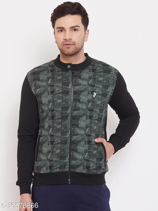 PERFKT-U Mens Black Green Fleece Textured Sweatshirt