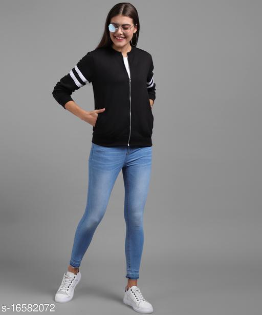 Vivient Women Black Plain White Stripe Sleeve Chain Jacket