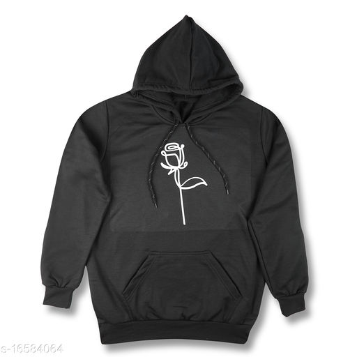 MaBelle Cotton Fleece Trendy Style Rose Printed Unisex Hoodie/Sweatshirt for Unisex Adult ,-01 Piece- Size-M /Sleeve: Long Sleeve/Occasion: Formal and Casual wear - Black