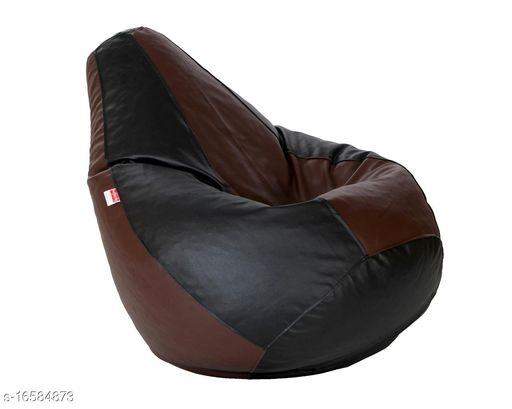 Ink Craft Bean Bag With Beans (Black-Brown , XL)