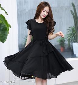 Elizy Women Black Plain Flair Georgatte Short Dress