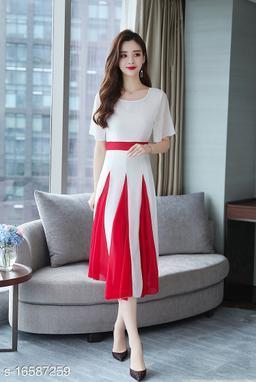Elizy Women White Plain Red Kali Flair Georgette Maxi Dress