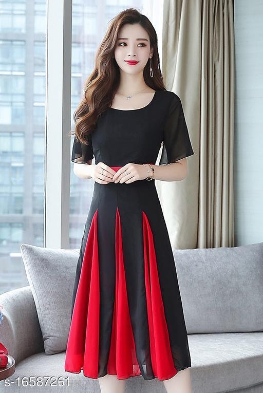 Elizy Women Black Plain Red Kali Flair Georgette Maxi Dress