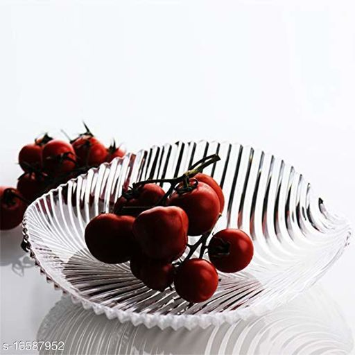 Small Beautiful Leaf Shape Glass Tray Plate for Serving Dry Fruits, Fruits, Snacks, Sweets, Chocolates for Home Decoration, Living Room