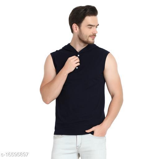 URBAN VIEW Navy Men Cotton Hooded Sleeveless T Shirt