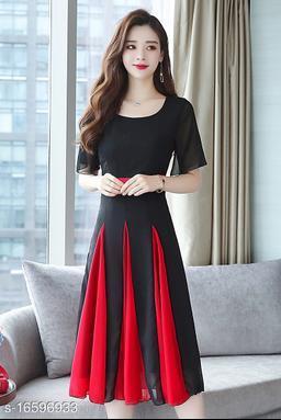 Women Black Plain Red Kali Flair Georgette Maxi Dress