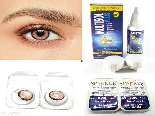 Cosmectic Monthly Disposable Amethyst  Color Contact Lens With 30 ml. Solution & Lens Case.